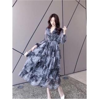 [ Hàng chuẩn ] Váy hoa tầng bèo tơ siêu xinh