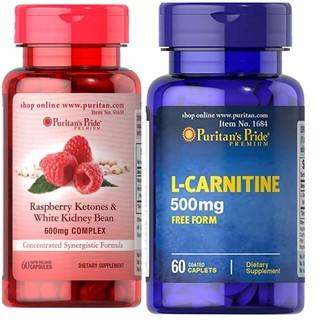 Combo giảm béo Puritan's Pride L-carnitine 500mg+ Raspberry ketones white kidney bean 600mg