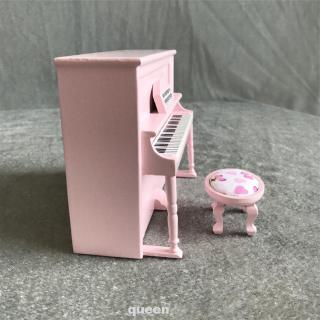 1:12 Home Decoration Desktop Ornament With Stool DIY Miniature Furniture Toys Dolls House Natural Wood Upright Piano Set