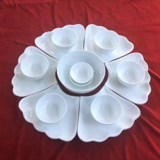 Bộ đồ ăn Hoa Mặt Trời sứ trắng Bát Tràng