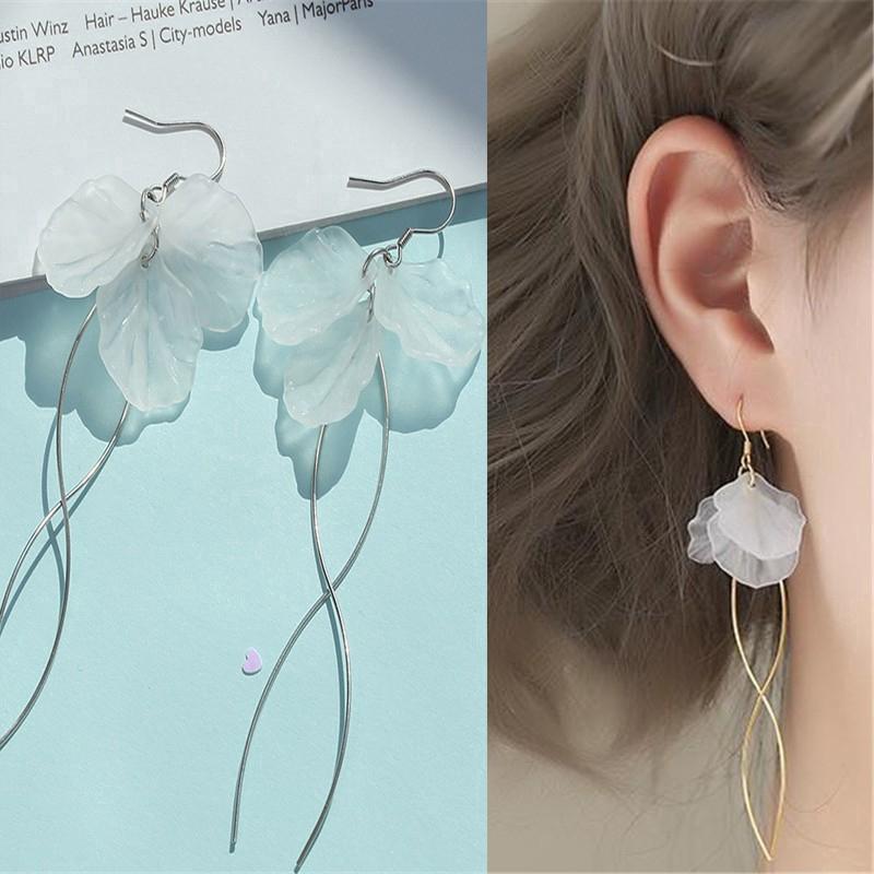 Nhập WAFACB20K giảm 20K cho đơn từ 99K_Hoa tai dáng dài mặt hình cánh hoa mềm mại nữ tính
