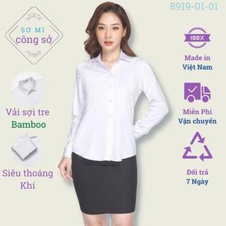 Áo sơ mi nữ công sở dài tay màu trắng Thái Hòa vải sợi tre, chiết eo 8919-01-01 thumbnail