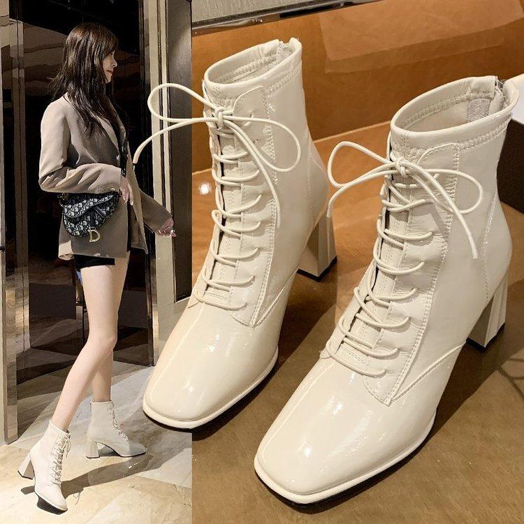 Giày Bốt Martin Cao Gót Cột Dây Kiểu Anh Thời Trang Mùa Thu 2020 Dành Cho Nữ