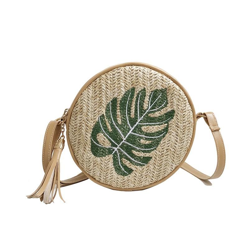 Túi xách rơm thêu hình tròn - 8232 | Shopee Việt Nam