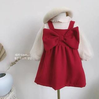 Set váy nhung nơ đỏ kèm áo len cực xinh cho bé đón mùa lễ hội , Váy Công Chúa Bé Gái , Váy lót bông bé gái cực ấm Chưa C