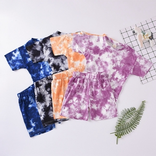 Hot Sale Summer Fashion Children Tie Dyed Clothing Short Sleeve Two Piece Suit Outfit Kids Boutique Clothing Wholesale