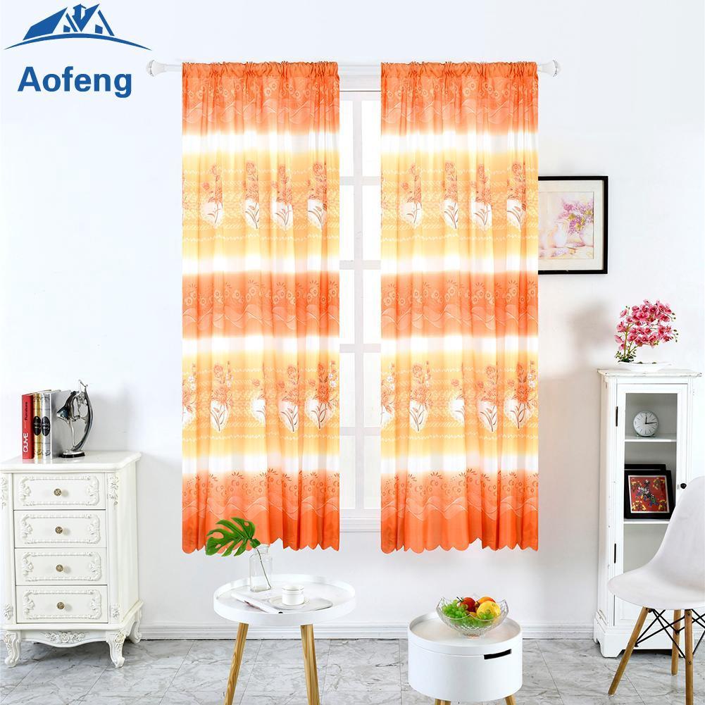 ✿Ready Stock✿ Plain Horizontal Strip Rose Printing Window Blinds Drapes Blackout Curtains [aofeng]