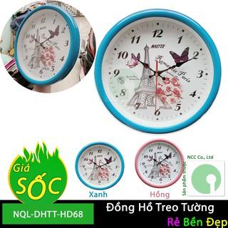 Đồng hồ treo tường kim giật giá rẻ nhỏ gọn cho gia đình, phòng trọ - NQL-DHTT-HD68 (Nhiều màu)