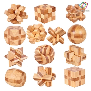 [FCD] 13pcs 3D Wooden Puzzles Kongming Luban Lock IQ Test Toy for Kid Teens Adults 3D Jigsaw Puzzles Wooden Puzzle