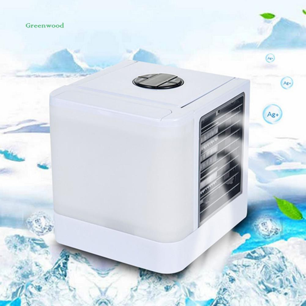 GREEN   Portable LED Lighting Mini Air Cooler Conditioner Cooling Fan Home Purifier