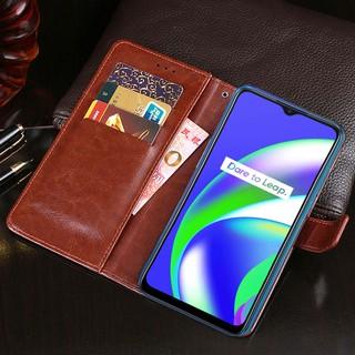 Bao da PU điện thoại nắp gập dạng ví có giá đỡ cho Realme C12