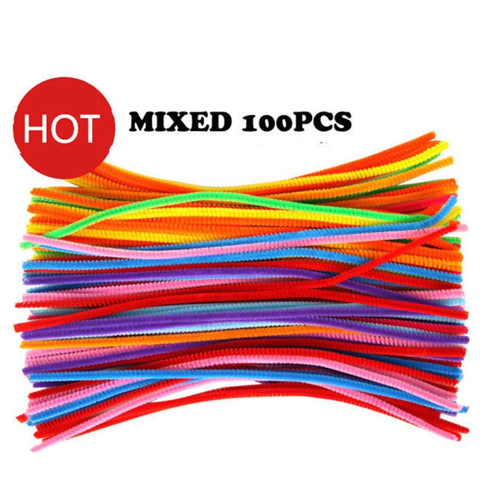 NEW Educational Kids Toy 100pcs Stems toys mixed color Crafts Chenille for Colorful Cure-Pipe Toys