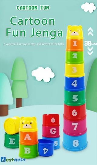 BN Children's educational fun bear building blocks stacking cups digital fruit hexagonal water bath toy LDYLIST