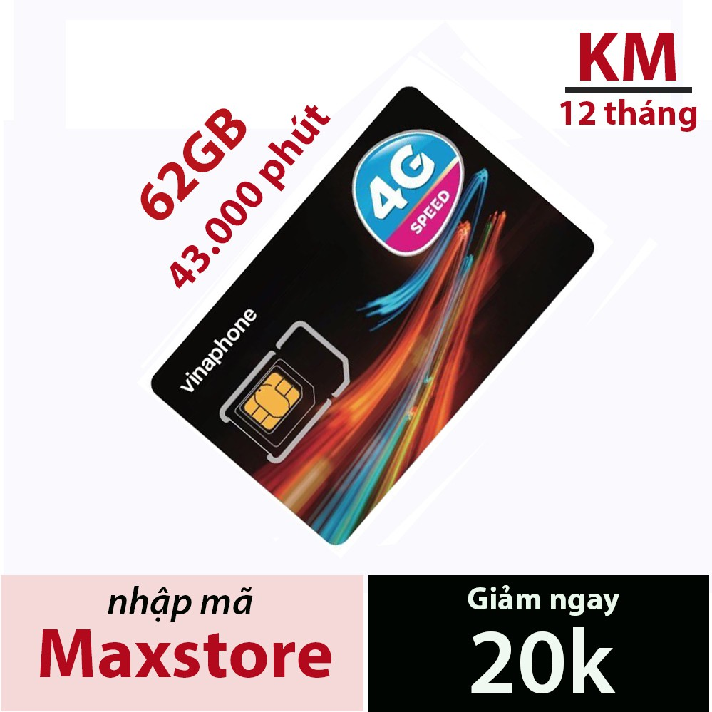 Sim 3G/4G Vinaphone vd89p miễn phí 120GB/Tháng + 4300 phút gọi từ Maxstore.Sử dụng toàn quốc.