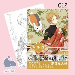 [Set 10 tờ A4] Tập bản thảo Natsume Hữu nhân sổ tranh phác họa, tô màu anime manga