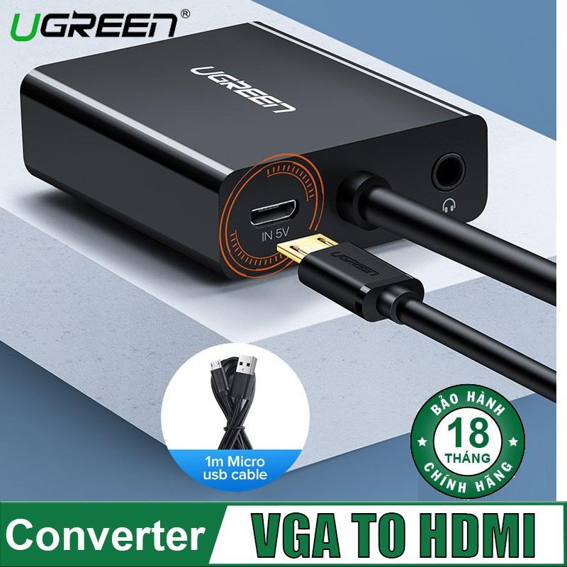 Cáp Chuyển VGA sang HDMI + Audio 3.5mm Chính Hãng Ugreen 60814(dài 30cm)