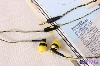 Mobile phone with wheat wire earphone in-ear braided wiring cord universal music subwoofer headphone TP