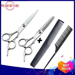 Combo kéo cắt và tỉa tóc (Trắng) + 2 lược (Lược đuôi nhọn và lược chải tóc) thumbnail