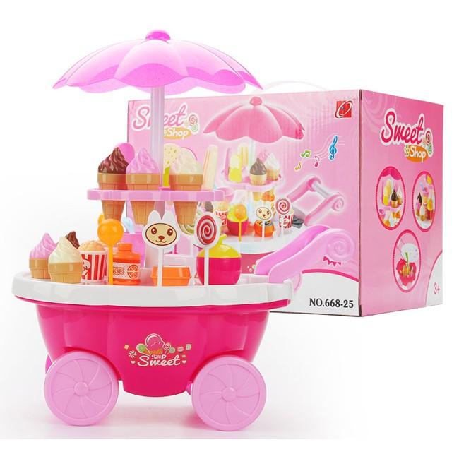 Xe kem-Xe đẩy bán kem có nhạc, có đèn màu hồng cho bé gái