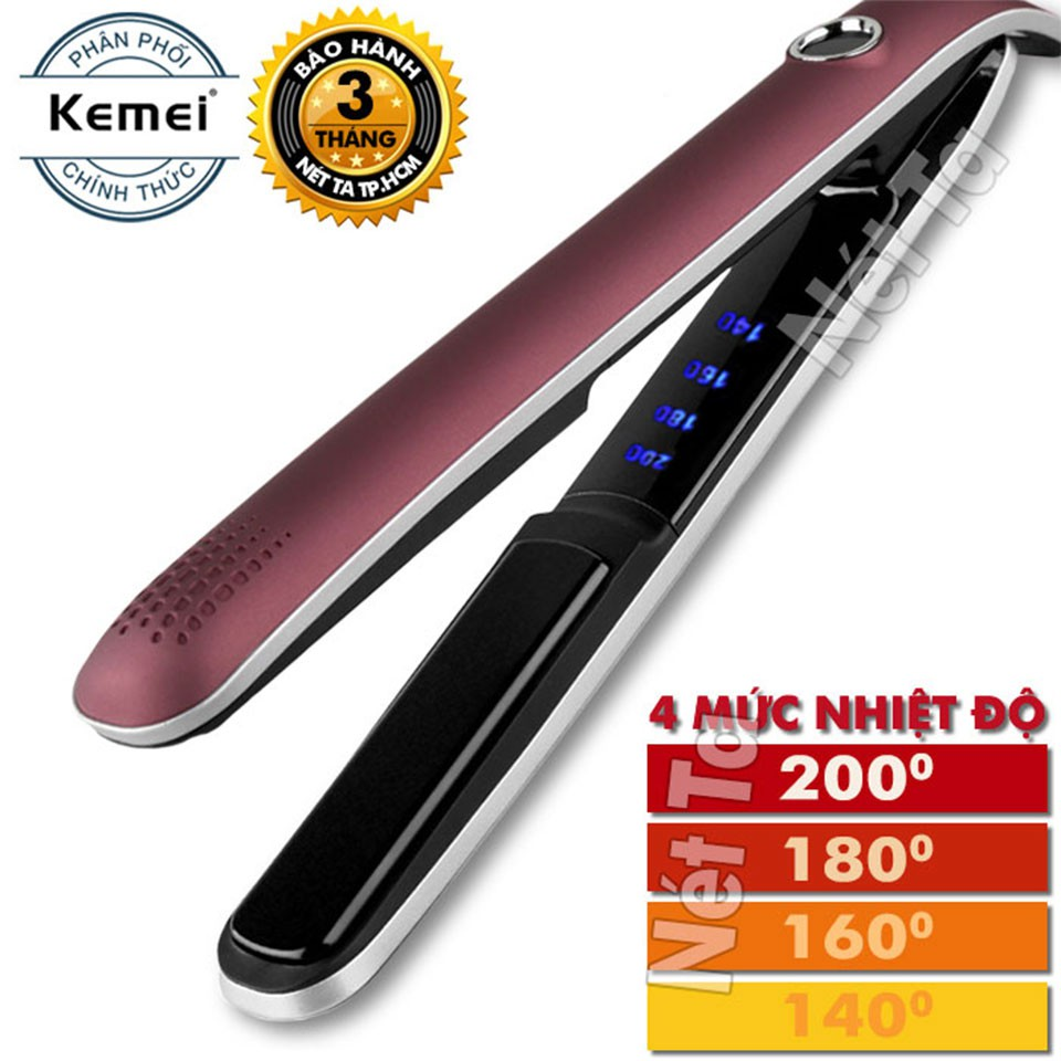 Máy duỗi tóc 4 mức điều chỉnh nhiệt độ Kemei 2203 bảo hành 3 tháng 1 đổi 1 tại Nét Ta có thể uốn cụp, uốn sóng dễ (Tím)