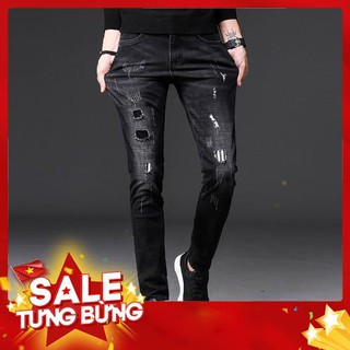 9.9 Quần Jeans Nam Slim Fit ống côn co giãn rạch nhẹ màu đen phong cách Hàn Quốc -Hàng nhập khẩu