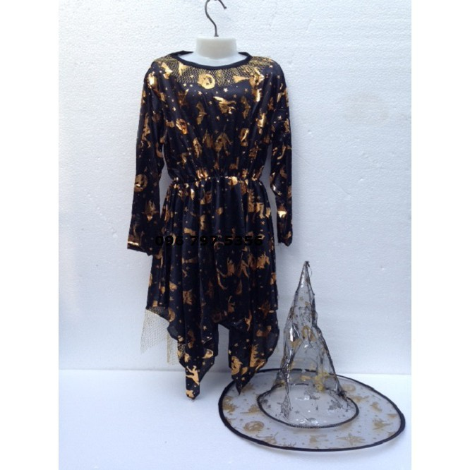 Bộ Váy kèm mũ hóa trang phù thủy size cho trẻ em và người lớn-_ảnh thật nhá ( full box )