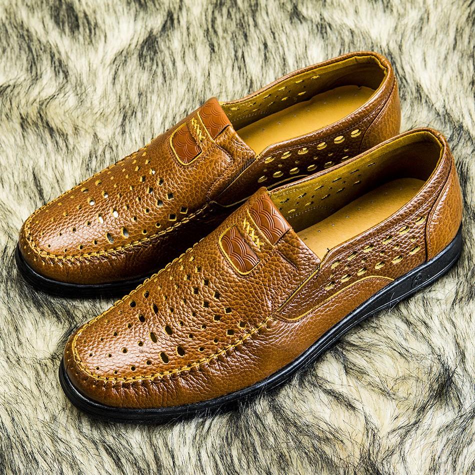 giày hè giày mọi giày rọ nam da bò thoáng mát