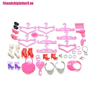 FS3VN 45 Pcs/Set Doll Accessories Shoes Bag Hanger Comb Bracelet For Barbie Dolls