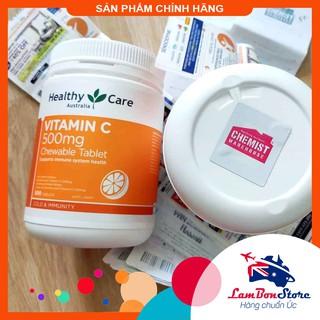[Tem CHEMIST] Viên nhai Healthy Care Vitamin C 500mg 500 viên (Date mới nhất) – Xuất xứ Úc