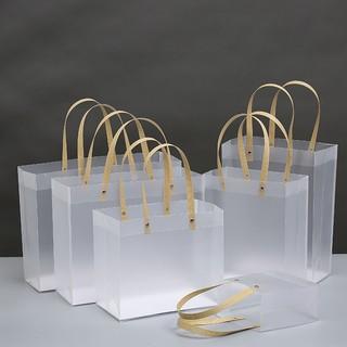 Túi đựng quà trong suốt mờ quai nhựa, túi quà sinh nhật, đựng đồ độc đáo