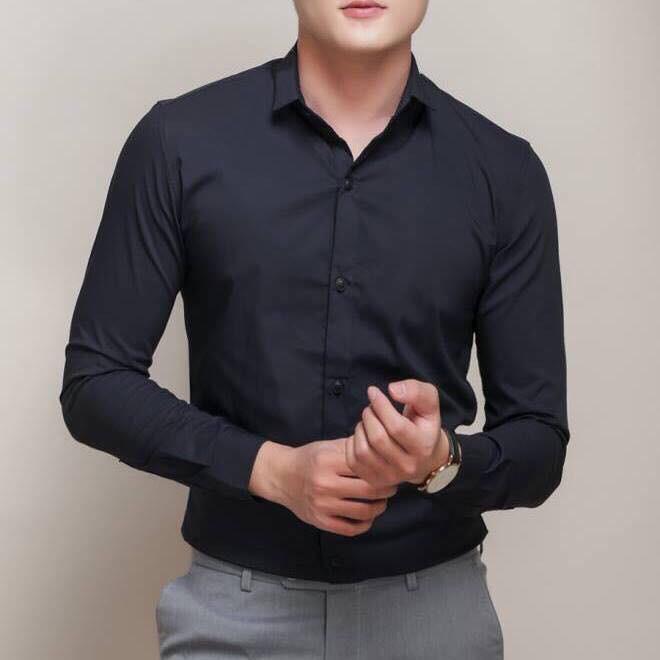 Áo Sơ Mi Nam Dài tay Thô Đũi Cổ Trụ Style Hàn Quốc - Áo sơ mi dài tay đẹp