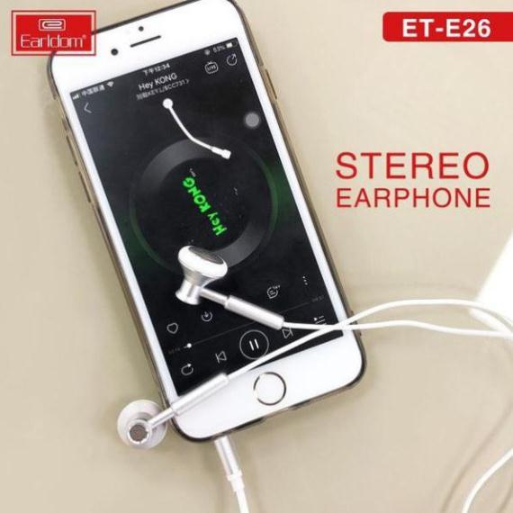 Tai nghe chân tròn 3,5mm kiểu dáng Classic Chính hãng Earldom E26, Bass mạnh tương thích Iphone Samsung Oppo Huawei