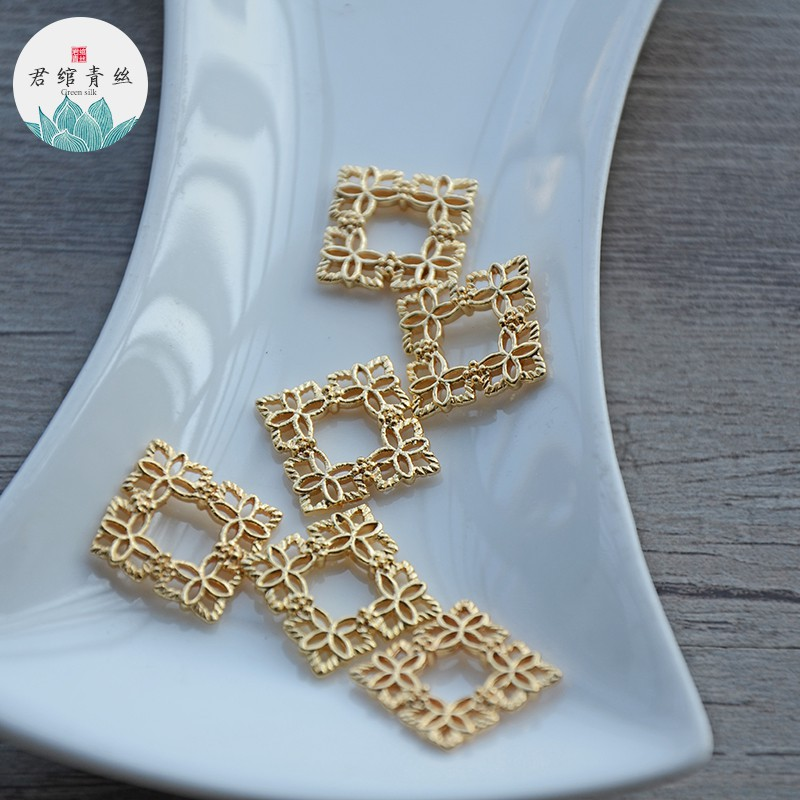 e silk pure copper double-sided square hollow 15MM connecting piece cast copper jewelry material antique hand-m 5 prices