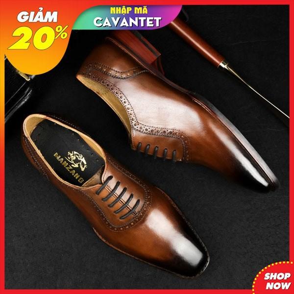 [Nhập mã CAVANTET giảm 20%] Giày nam patina cao cấp kiểu buộc dây chất liệu da thật, hàng chính hãng Manzano