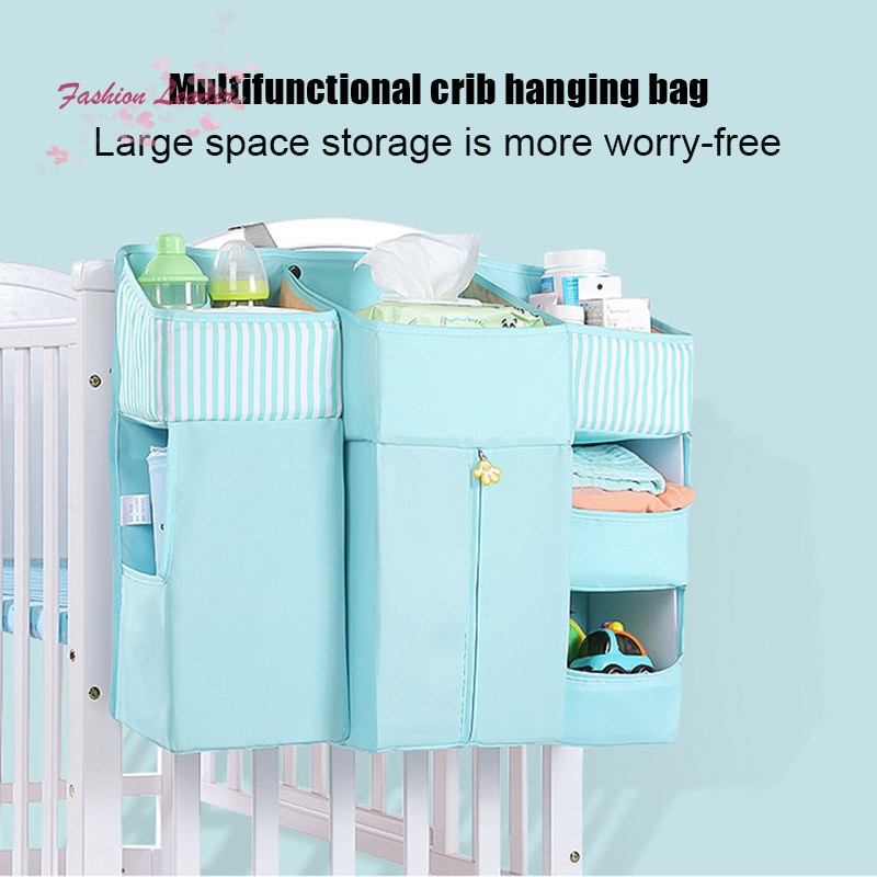 Baby Crib Cot Bed Storage Bag Hanging Pocket Diaper Nappy Clothes Organizer for Home