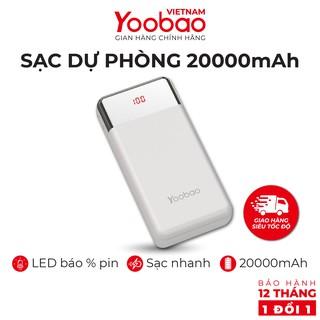 Sạc dự phòng 20000mAh Yoobao PD20 Sạc nhanh PD Công suất 18W - Hàng chính hãng - Bảo hành 12 tháng 1 đổi 1
