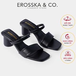 Giày sandal cao gót Erosska mũi vuông dây bảng phối gót tròn cao 5m màu đen _ EB026