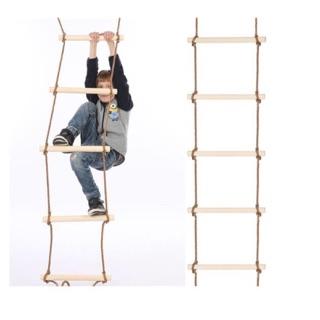 Xich đu dây leo 5 bậc bằng gỗ đồ chơi trẻ em trong nhà ngoài trời