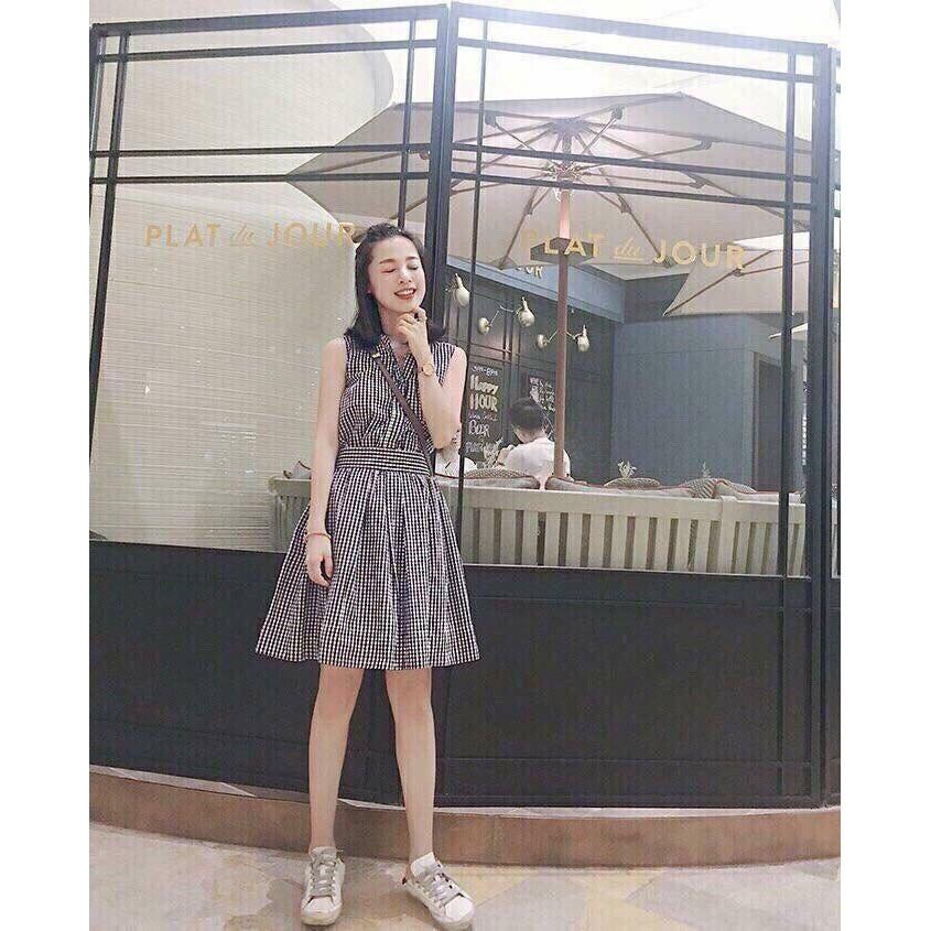 Đầm Xòe Caro Cổ Trụ Hình Chụp Thật
