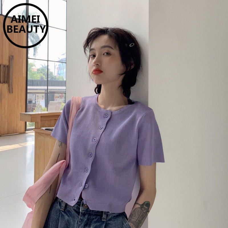 AimeiBeauty Áo croptop len dệt kim ngắn tay ngắn màu tím
