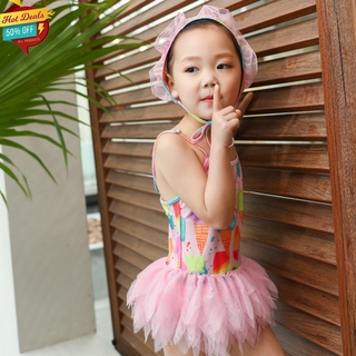 COD 2 Pcs/set Girls Swimsuit Ice Cream Print Sling Gauze Skirt One-piece Swimsuit + Swimming Cap For 2-7 Years Old