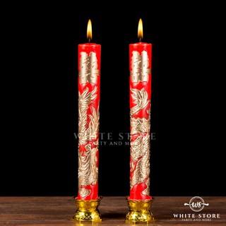 Nến Rồng Phượng- Đèn Cầy Long Phụng Nhũ Vàng-30cm thumbnail
