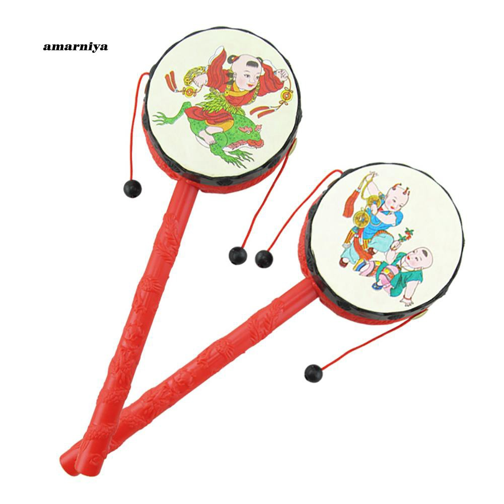 AMA♥Chinese Traditional Toddler Baby Early Educational Hand Bell Rattle Drum Toy