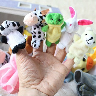 FH 10Pcs/Pack Baby Kids Animal Finger Plush Toys Educational Story Cloth Puppets
