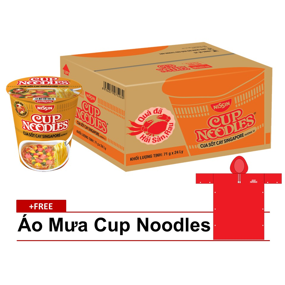 Mua 24 Ly Mì Cup Noodles Cua Sốt Cay Singapore Tặng 1 Áo Mưa Cup Noodles