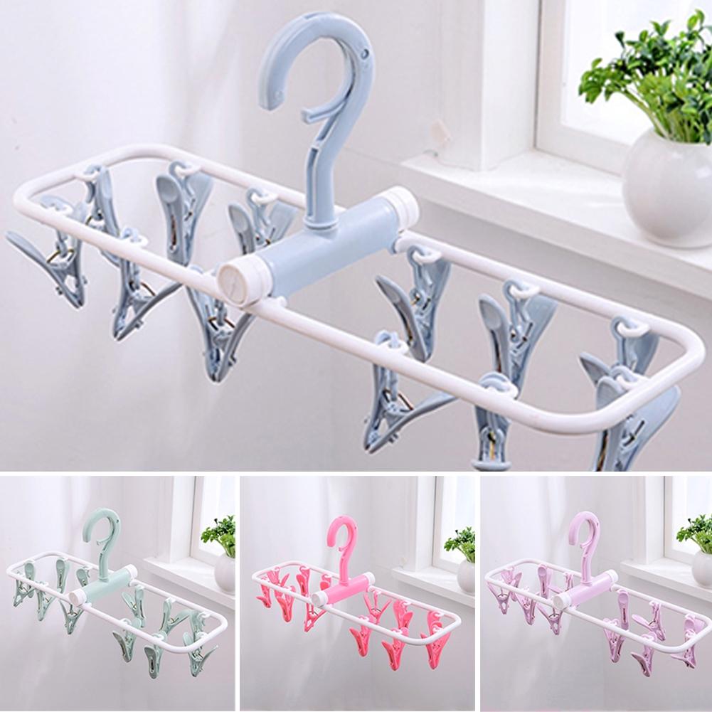 Rotatable Non-Slip Bathroom Windproof Drying Travel Plastic Household Foldable Hanger