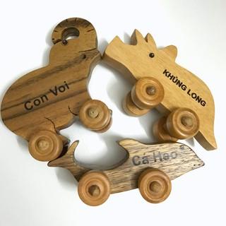 Đồ chơi chỗ cho bé – Set 3 con thú bánh xe chất liệu gỗ tự nhiên an toàn cho bé CHÀNG TRAI GỖ