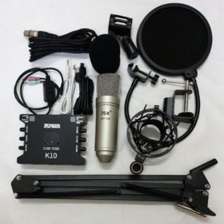 Combo thu âm hát livestream mic ISK AT100 và sound card K10 (đầy đủ phụ kiện)