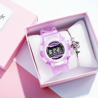 Đồng hồ điện tử unisex kiểu dáng thể thao thời trang dây cao su Candycat18