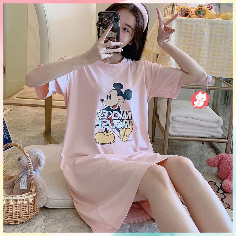Váy ngủ dáng suông dễ thương màu Hồng Mickey VN05